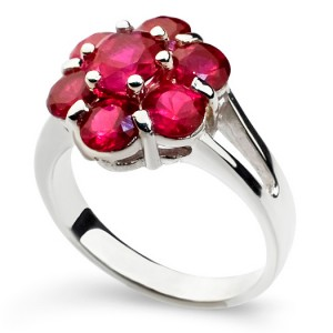 Harry Fay's Tutti Sterling Silver Cluster Ring with Pink Red Rubies