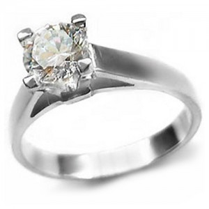 Adoria, Silver Engagement Ring with Diamond Cut Cubic Zirconia