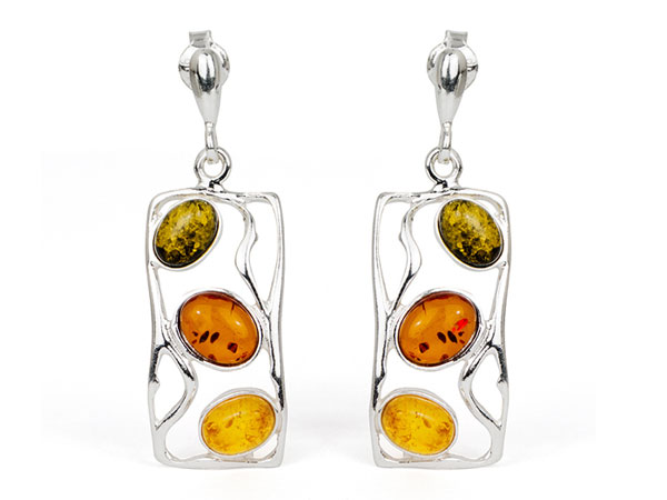 LUCIDA Multicolour Baltic Amber Silver Earrings