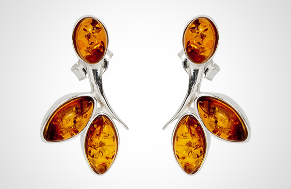 SMALL TWIG Baltic Amber-Silver Earrings