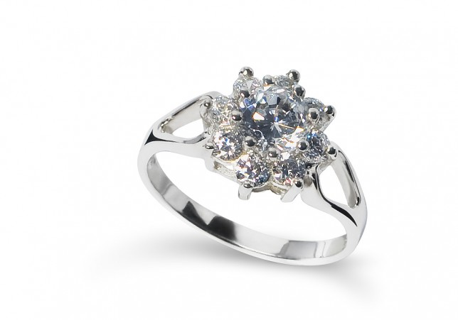 ELIZA Cluster Sterling Silver Ring with Nine Round Cubic Zirconias