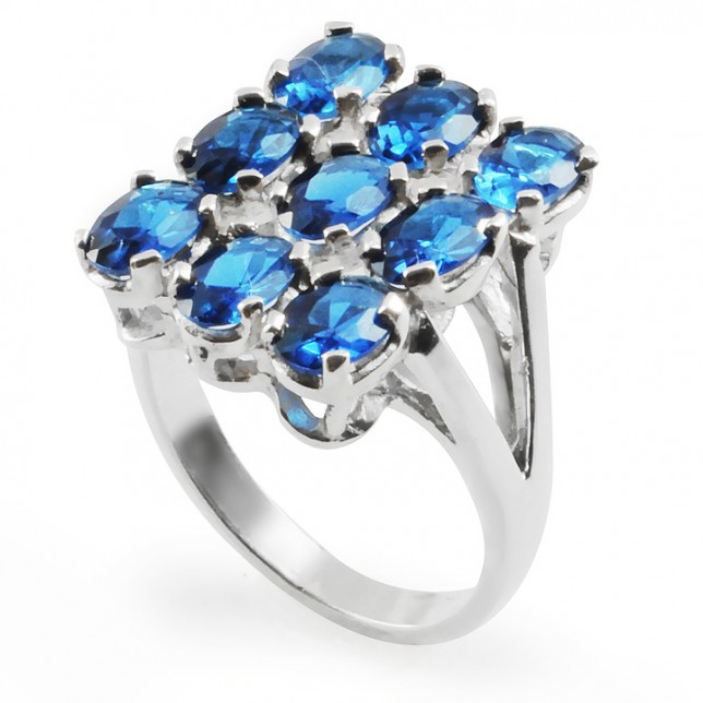 BLUE LILY Silver Statement Ring