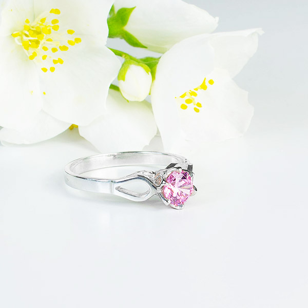 Pink Esme Sterling Silver Ring with pink cubic zirconia